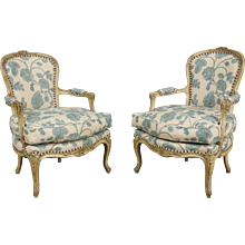 Pair of Louis XV Style Grey Painted Bergeres