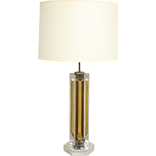 1970's Polished Brass and Nickel Lamp Attributed to Willy Rizzo