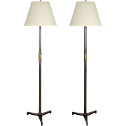 A Pair of Contemporary Steel Floor Lamps with Pewter Finish