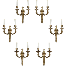 A Set of Six of Mid 19th Century Louis XVI Style Ormolu Sconces