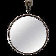 BURDEN Contemporary Circular Steel Mirror on Hanging Backplate