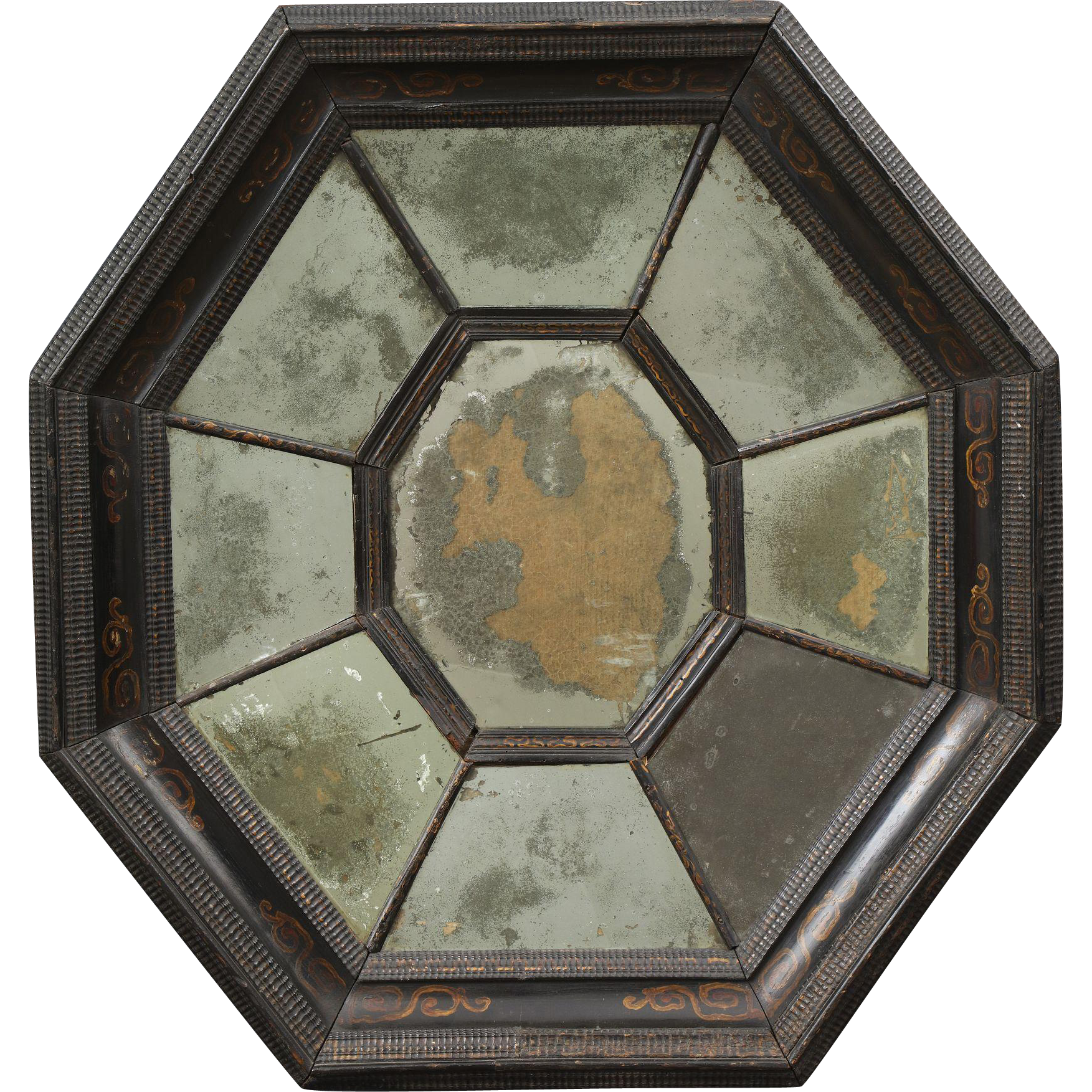 Late 17th century flemish baroque octagonal mirror with for 17th century mirrors