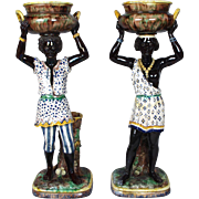 Pair of Majolica Blackamoor Jardinieres