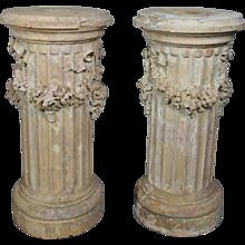 Pair of Terracotta Fluted Pedestals