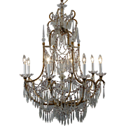 Elegant 8-Light Crystal and Gilt Metal Chandelier
