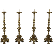 Set of Four 18th Century Tall Brass Altar Sticks