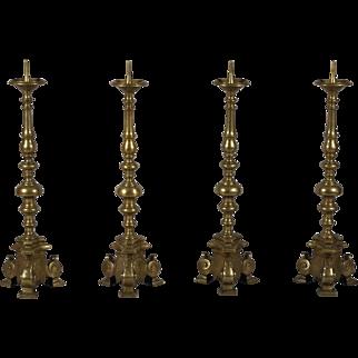Set of Four 18th Century Tall Brass Altar Sticks