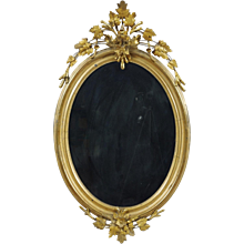Louis Philippe Carved and Giltwood Oval Mirror