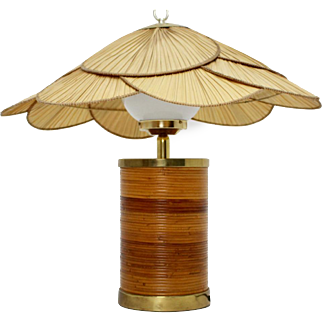 Rattan Table Lamp by Ingo Maurer 1970s Germany