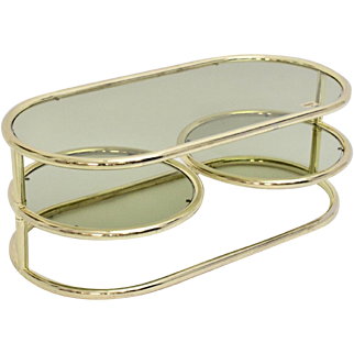 Brass and Green smoked glass swiveling Coffee Table 1970s by Morex, Italy