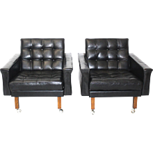 A pair of Leather Armchairs by Johanns Spalt circa 1959 Austria