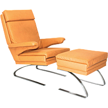 20th Century German Swing Arm Chair with ottoman