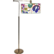 "J.T. Kalmar ""Neolift"" Art Deco Floor Lamp 1930/33 Vienna, Austria Shade with original Josef Frank fabric"