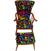 Cherrywood Armchair by Anna-Lülja Praun, Vienna, c. 1952 with original Josef Frank Fabric