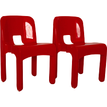 Pair of Red Plastic Chairs Universale Mod 4860 by Joe Colombo