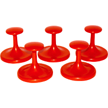Set of five orange Wall Plastic Cloth Hanger c 1970