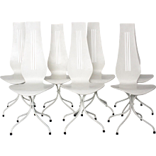 7 Dining Chairs Chaise Lyre 1960 Switzerland
