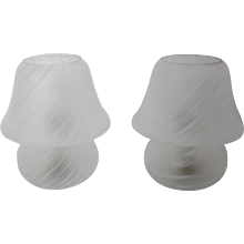 Pair of Mushroom Glass Lamps Italy 1960s