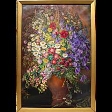 """Huge """"Field Flowers"""" Oil on Canvas by Emil Fiala 1933 Vienna"""