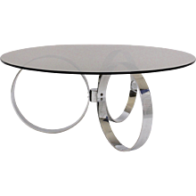 Coffee Table with three Chromed Rings 1970s