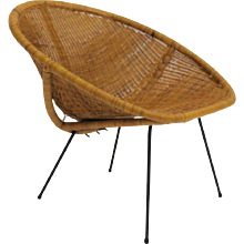 Woven Rattan Club Chair France 1950s