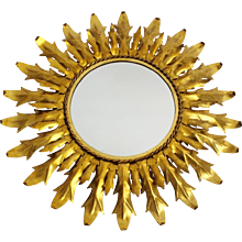 Gilt Iron Sunburst Mirror with curved leaves