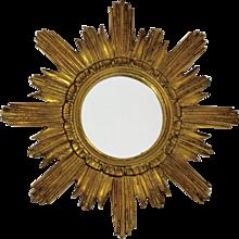 Gilded Wood Sunburst Vintage Mirror 1950s