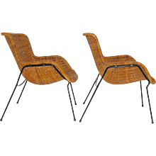 Rattan Armchairs Italy 1950s