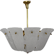 White Curved Textured Glass Chandelier by J. T. Kalmar 1950s