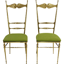Brass Pair of Chiavari Chairs 1950s Italy