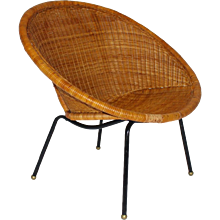 Rattan Club Chair Italy 1950s