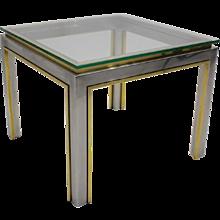 Brass and Chrome Coffee Table by Romeo Rega circa 1970 Italy