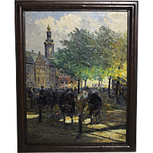 Oil on Canvas Cow Market by J. Schulz circa 1950