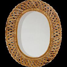 Oval Italian Mid Century Modern Rattan Mirror 1950s