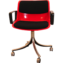 Red Swivel Desk Chair by Osvaldo Borsani 1970s