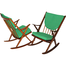 Scandinavian Mid Century Modern Rocking Chair by Frank Reenskaug Denmark c. 1960