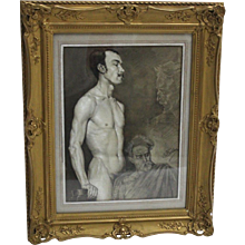 Black and White Male Nude Painting by Emil Fiala Vienna circa 1918