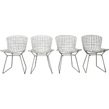 Set of 4 White Wire Chairs by Harry Bertoia, Model No. 420 C 1950s