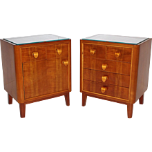 Pair of cherrywood Nightstands Austria 1950s