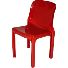 "Red Fiberglass Chair ""Selene"" by Vico Magistretti 1968"