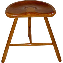Three Legged Viennese Solid Maple Tree Stool circa 1933