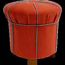 Orange Art Deco Pouf or Ottoman Austria 1930s