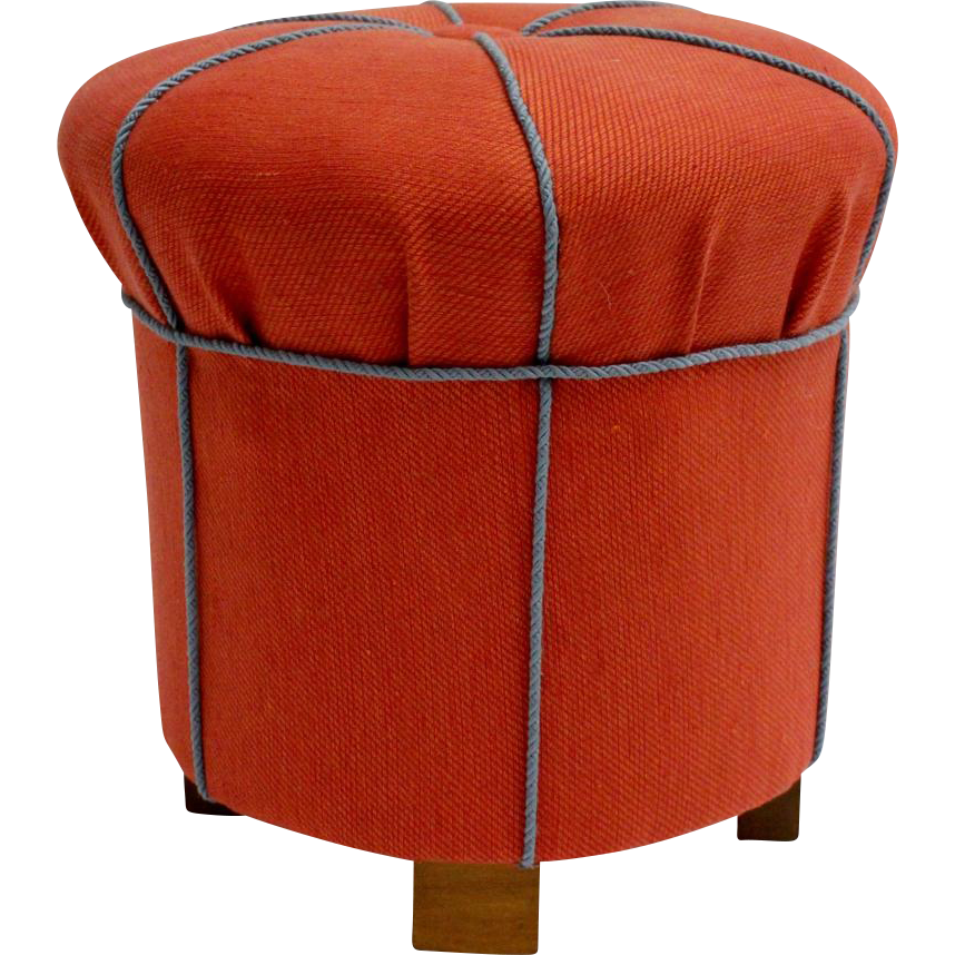 orange art deco pouf or ottoman austria 1930s nobarock moderne antiquitaten rubylux. Black Bedroom Furniture Sets. Home Design Ideas
