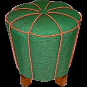 Green Austrian Art Deco Ottoman 1930s