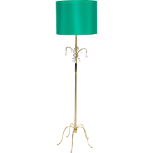 Austrian Brass and Crystal Glass Floor Lamp by J.&L.Lobmeyr circa 1950