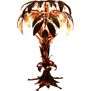 Golden Palm Tree Table Lamp by Hans Kögl 1970s Germany