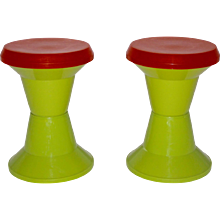 Pair of Red and Green Plastic Stool 1970 Italy