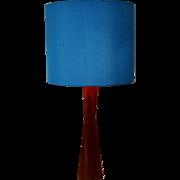 Blue Shade and Teak Table Lamp 1960s Denmark