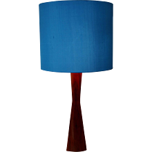 Blue Shade and Teak Table Lamp 1960s Denmark