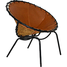 Brown Leather Cocktail Club Chair 1950s